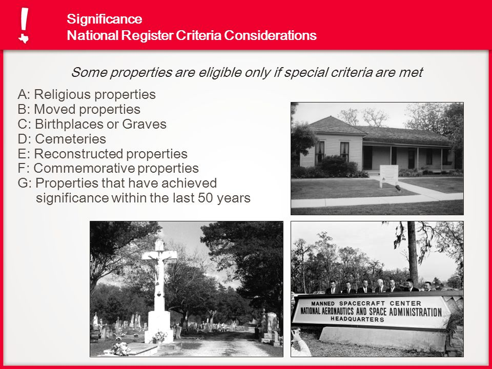 Significance National Register Criteria Considerations