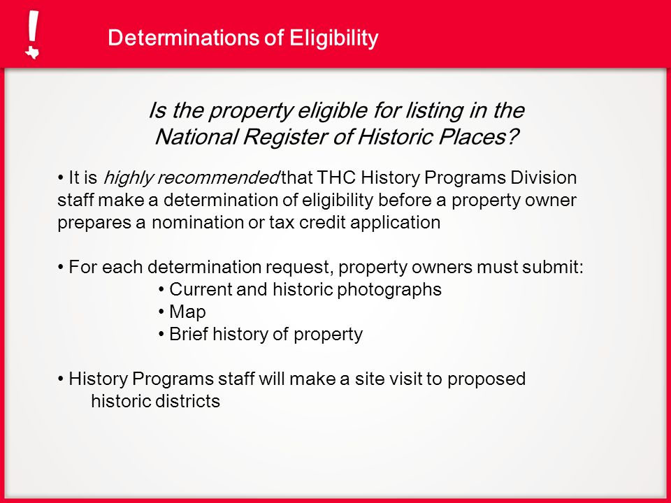 Determinations of Eligibility