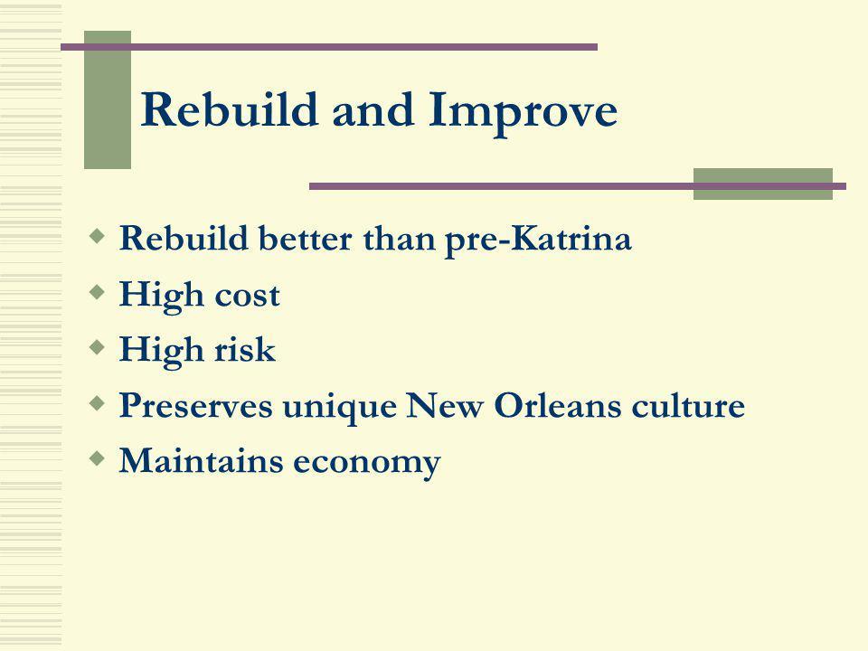 Rebuild and Improve Rebuild better than pre-Katrina High cost