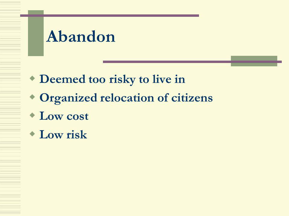 Abandon Deemed too risky to live in Organized relocation of citizens
