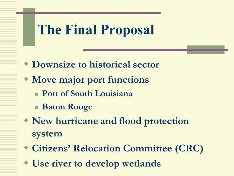 The Final Proposal Downsize to historical sector