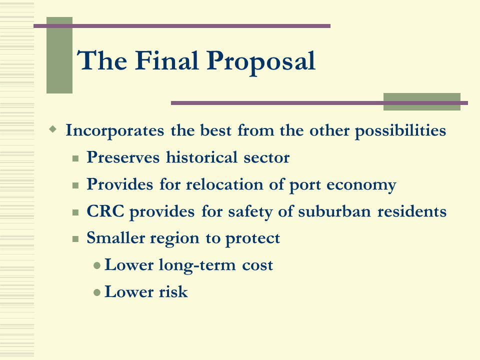 The Final Proposal Incorporates the best from the other possibilities