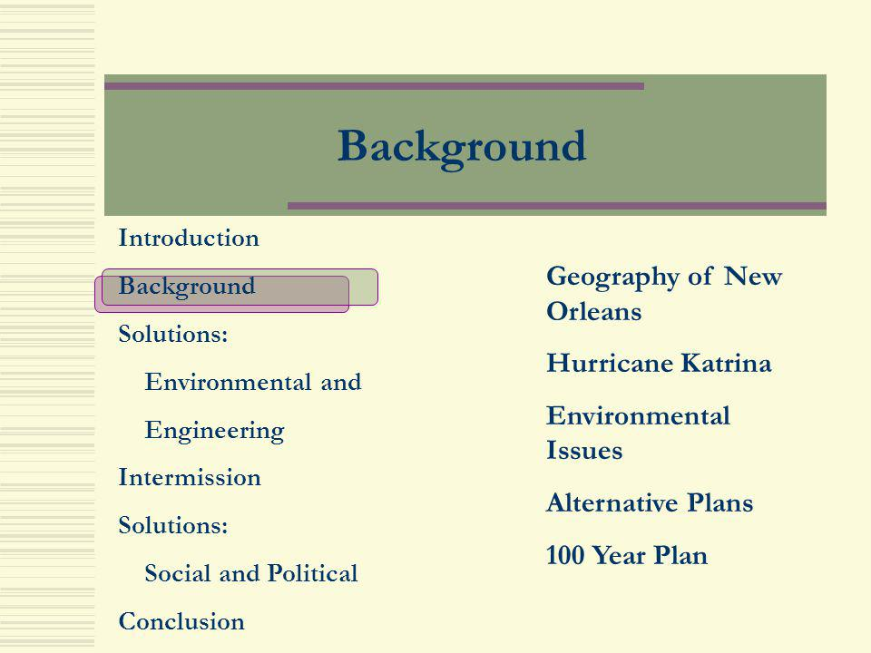Background Geography of New Orleans Hurricane Katrina