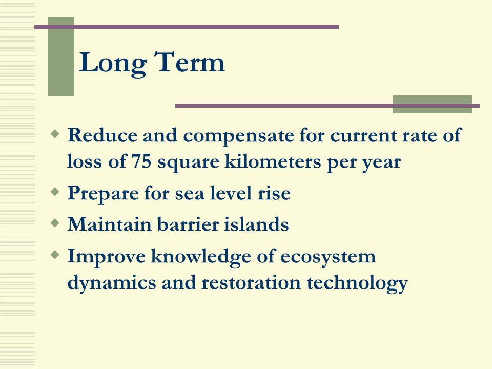 Long Term Reduce and compensate for current rate of loss of 75 square kilometers per year. Prepare for sea level rise.