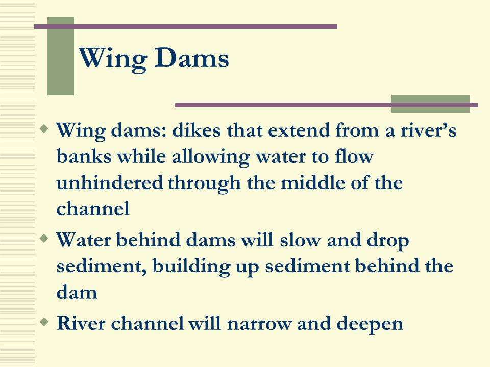 Wing Dams Wing dams: dikes that extend from a river's banks while allowing water to flow unhindered through the middle of the channel.