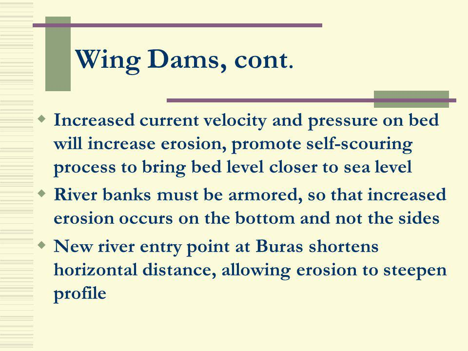 Wing Dams, cont.