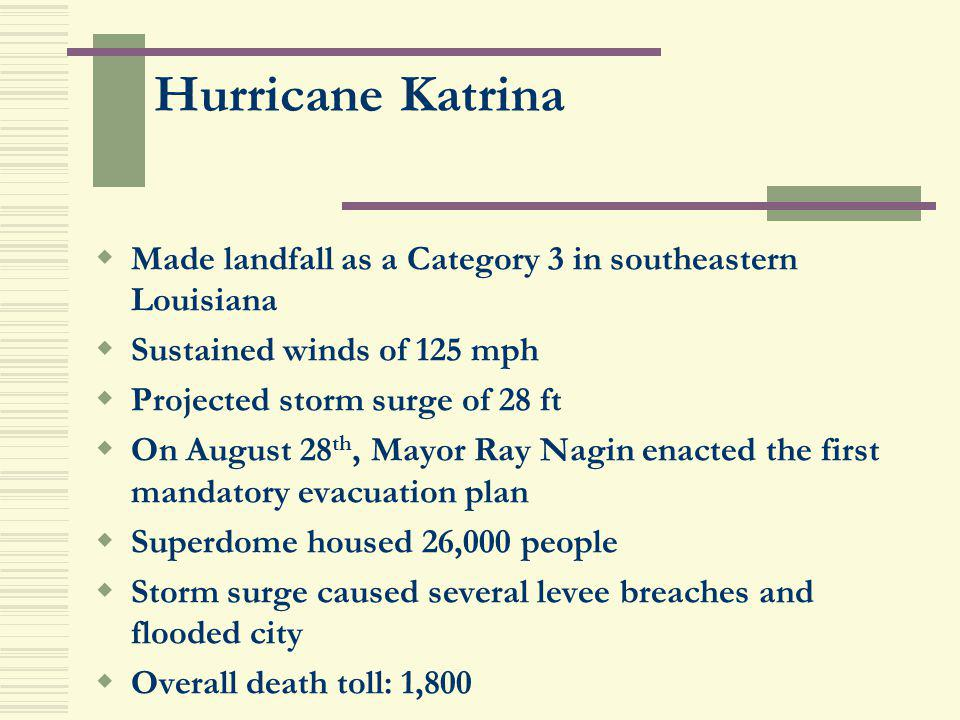 Hurricane Katrina Made landfall as a Category 3 in southeastern Louisiana. Sustained winds of 125 mph.