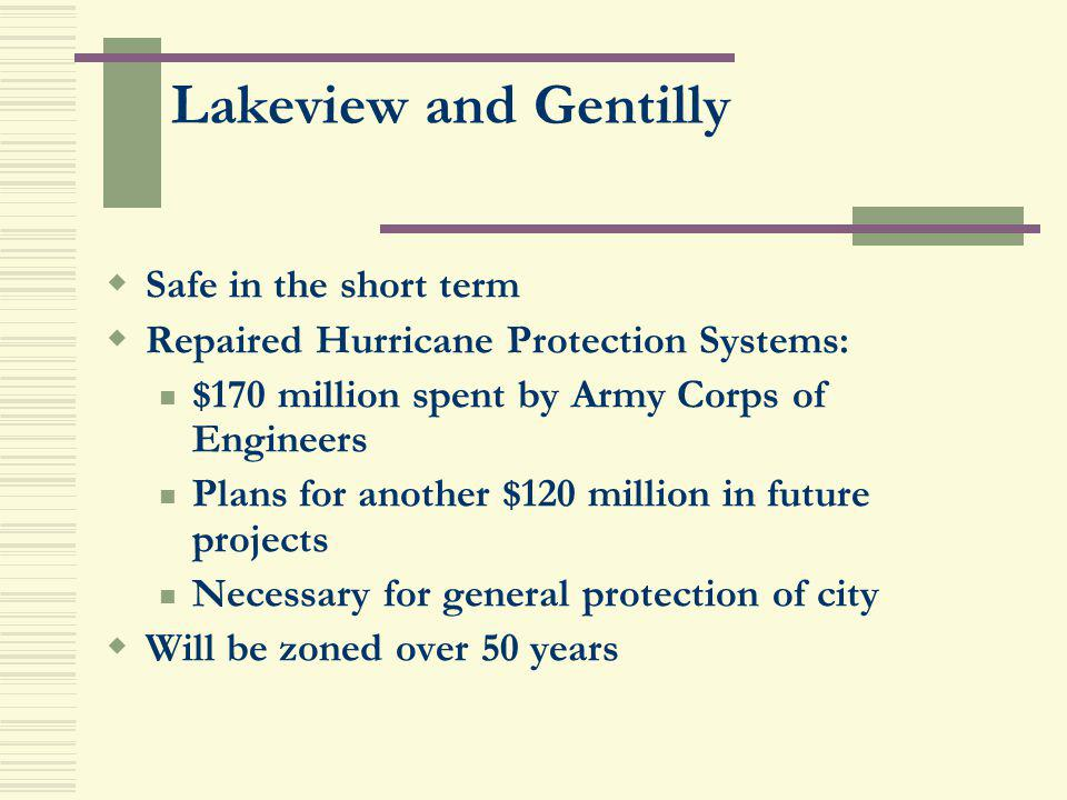 Lakeview and Gentilly Safe in the short term