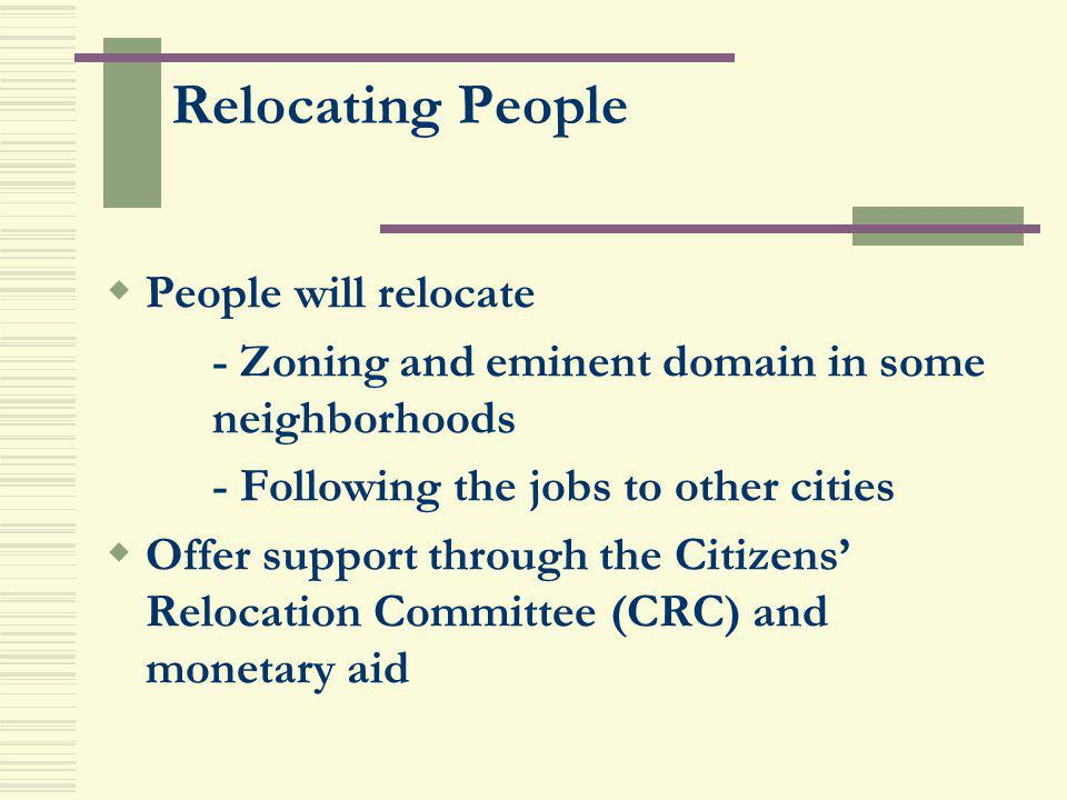 Relocating People People will relocate