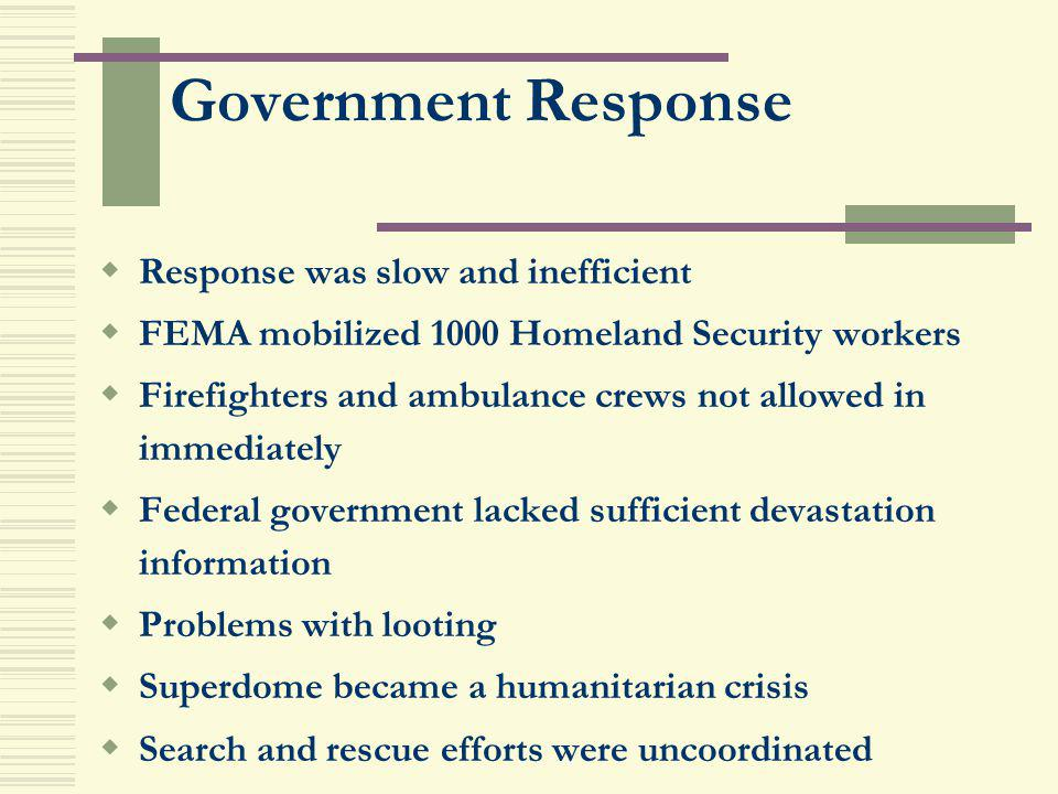 Government Response Response was slow and inefficient