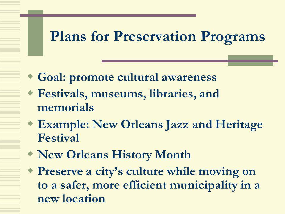 Plans for Preservation Programs
