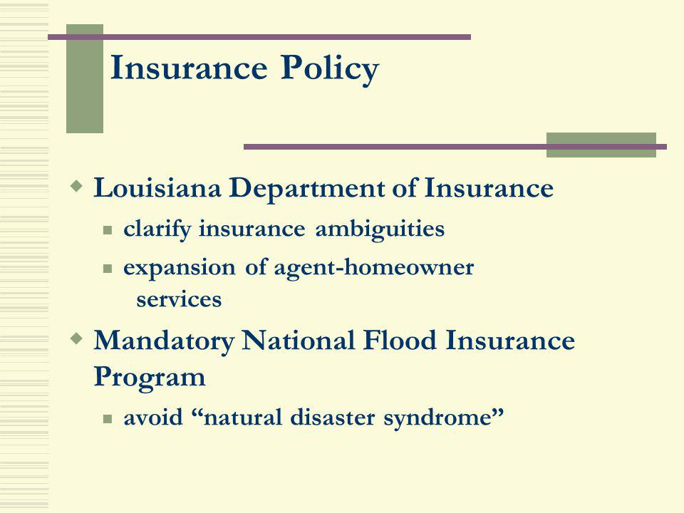 Insurance Policy Louisiana Department of Insurance