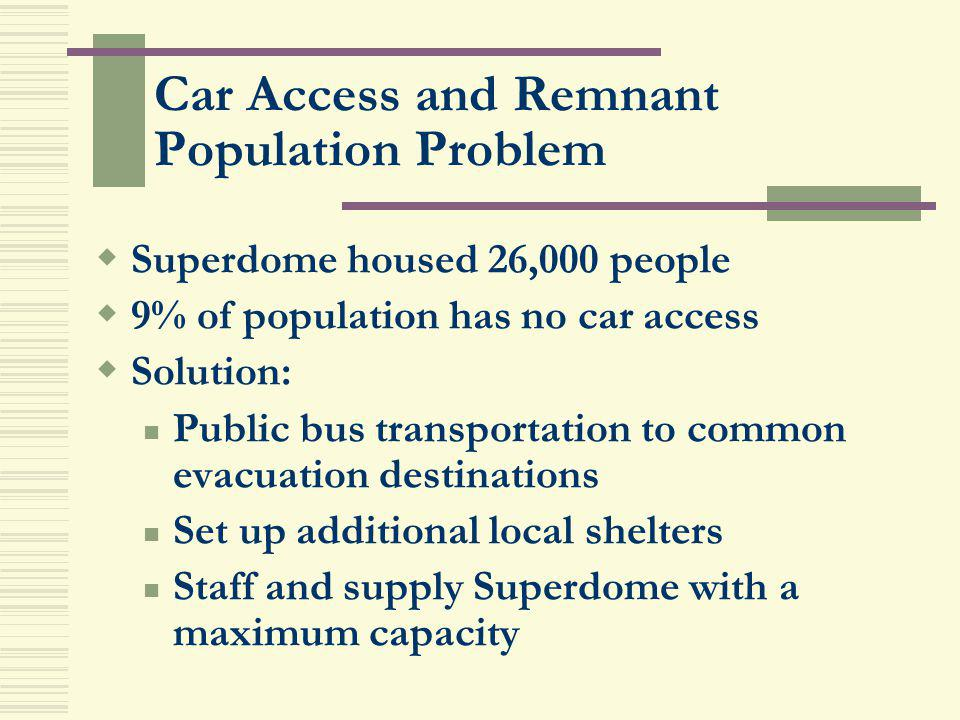 Car Access and Remnant Population Problem