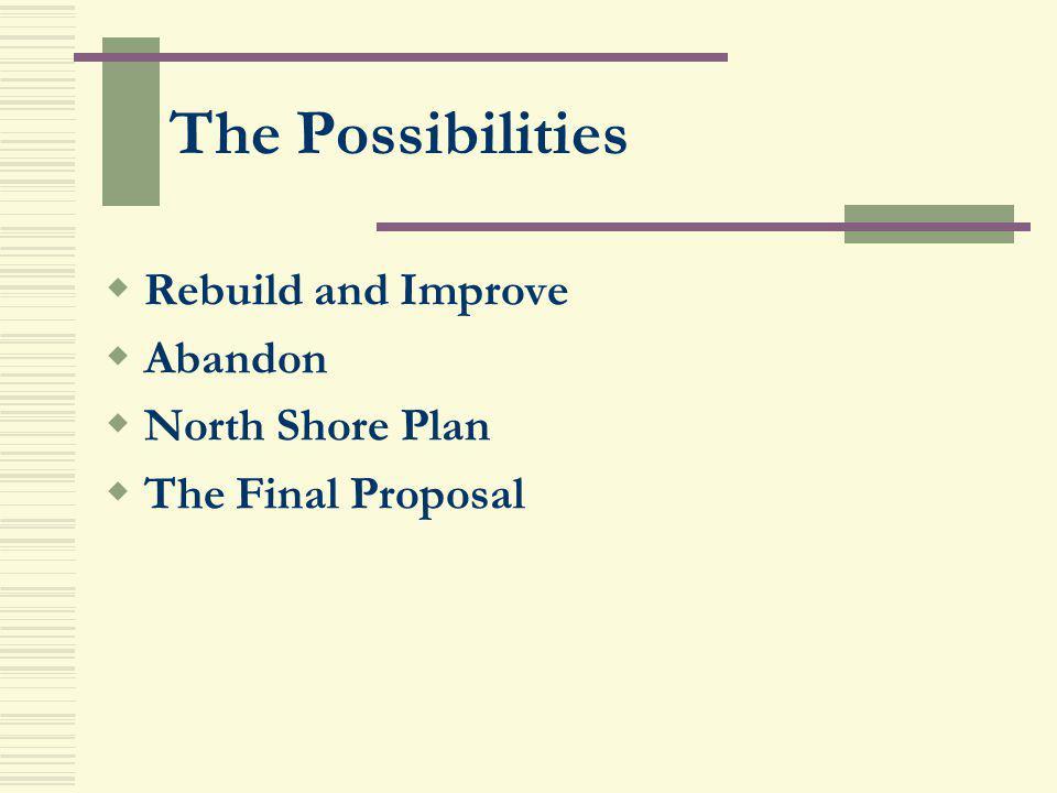 The Possibilities Rebuild and Improve Abandon North Shore Plan