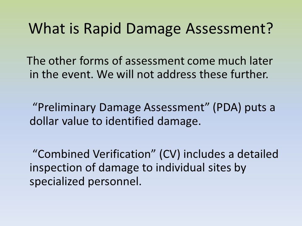 What is Rapid Damage Assessment