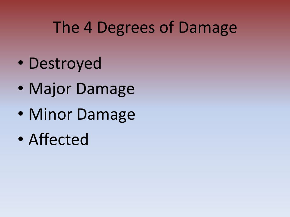 The 4 Degrees of Damage Destroyed Major Damage Minor Damage Affected