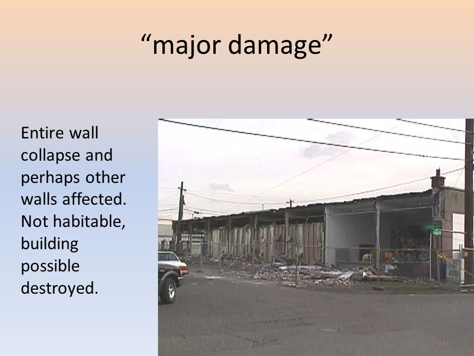 major damage Entire wall collapse and perhaps other walls affected.