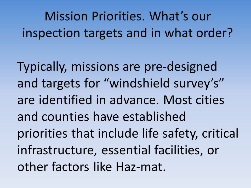 Mission Priorities. What's our inspection targets and in what order