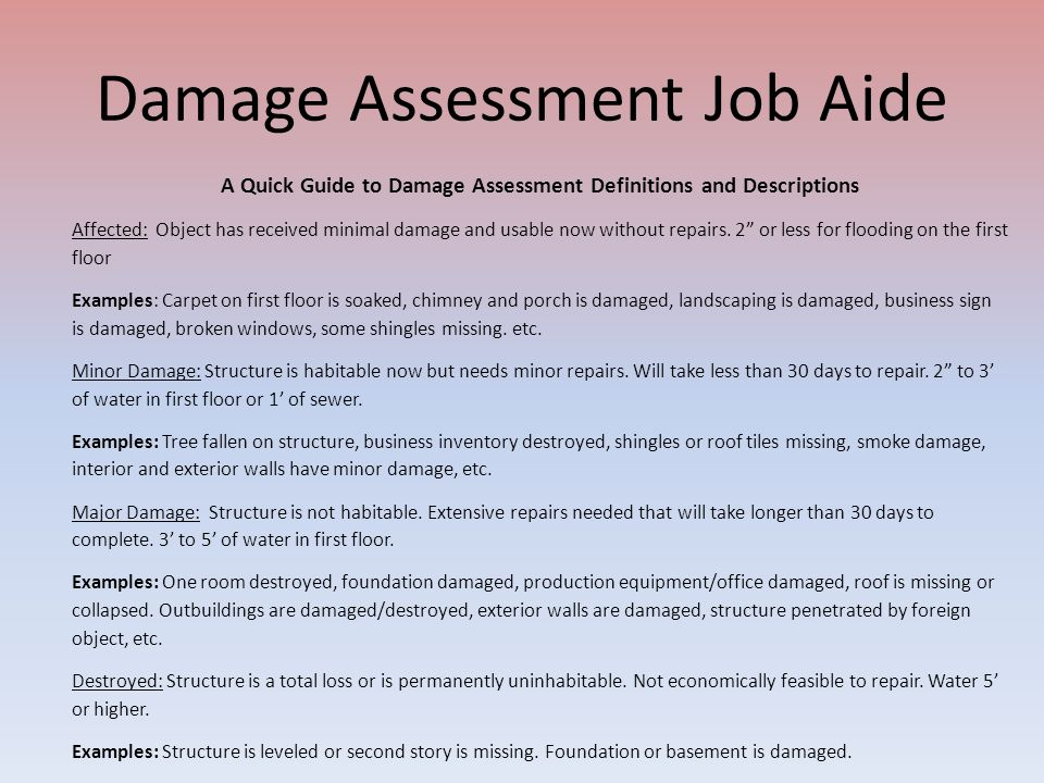 Damage Assessment Job Aide