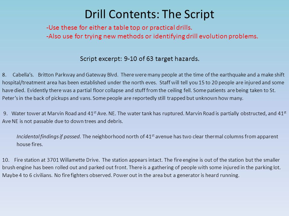 Drill Contents: The Script