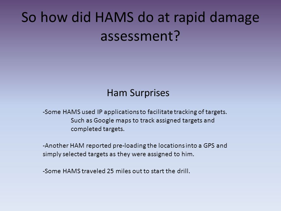 So how did HAMS do at rapid damage assessment