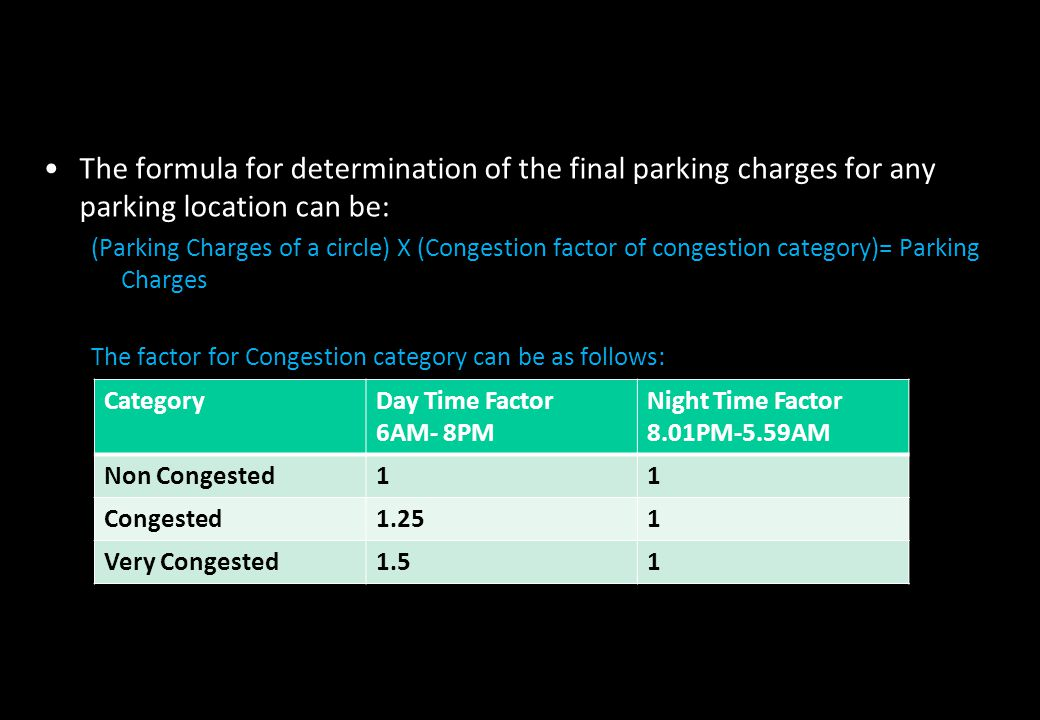The formula for determination of the final parking charges for any parking location can be: