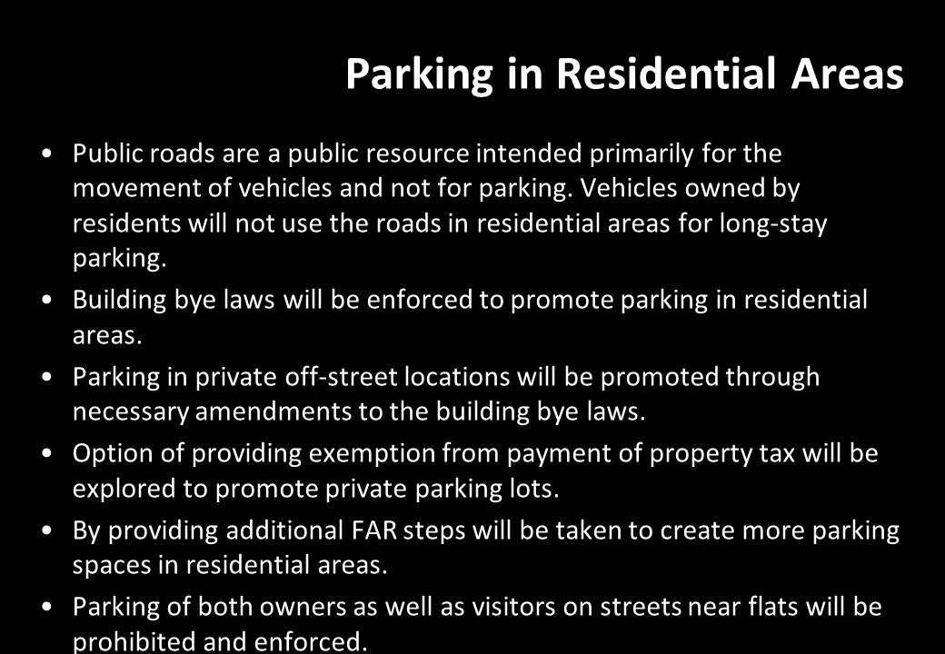 Parking in Residential Areas
