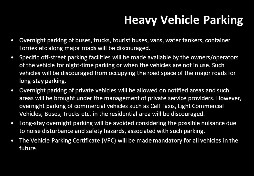 Heavy Vehicle Parking