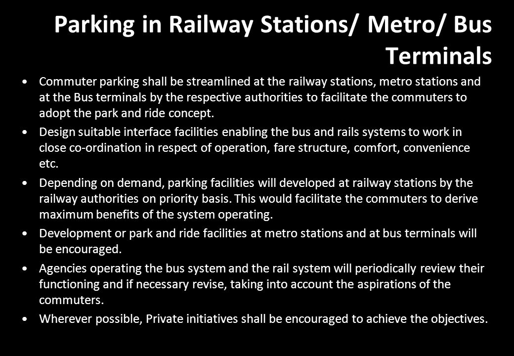 Parking in Railway Stations/ Metro/ Bus Terminals