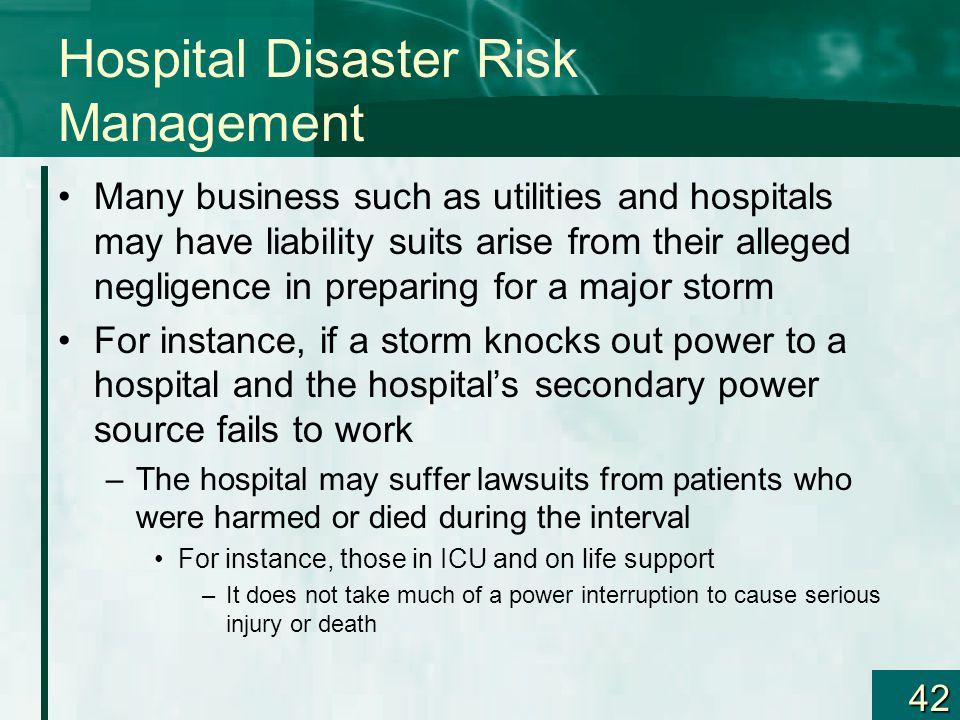 Hospital Disaster Risk Management