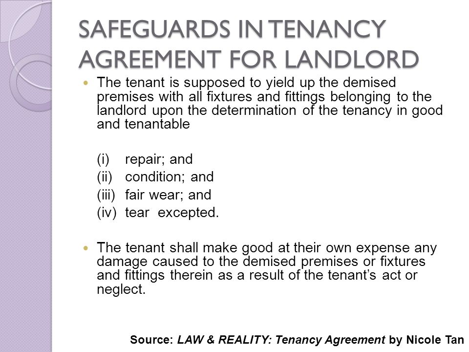 SAFEGUARDS IN TENANCY AGREEMENT FOR LANDLORD