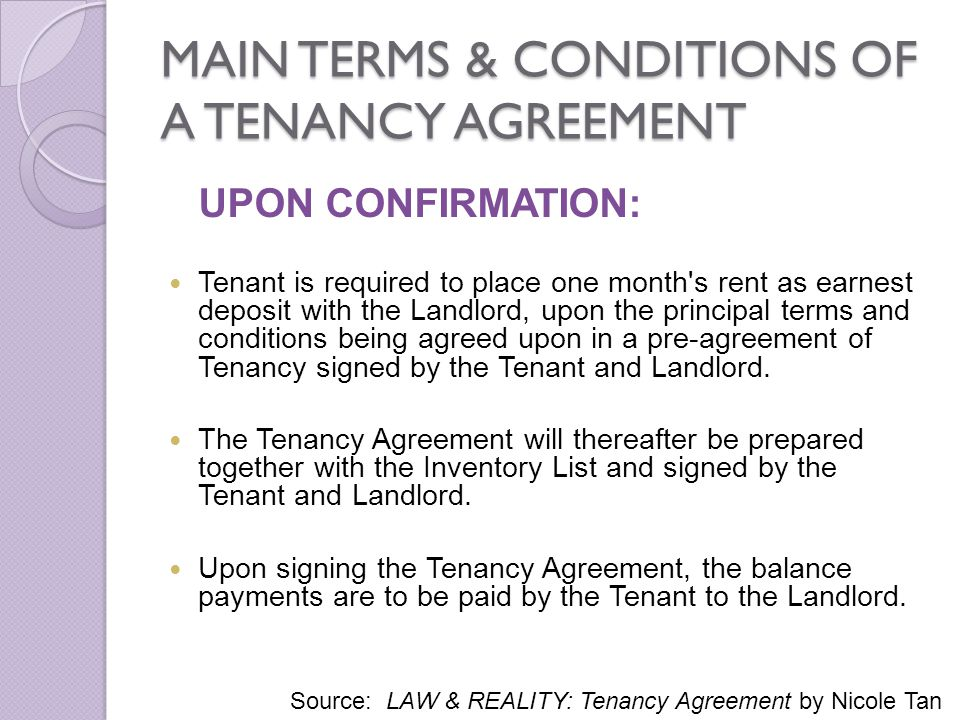 MAIN TERMS & CONDITIONS OF A TENANCY AGREEMENT