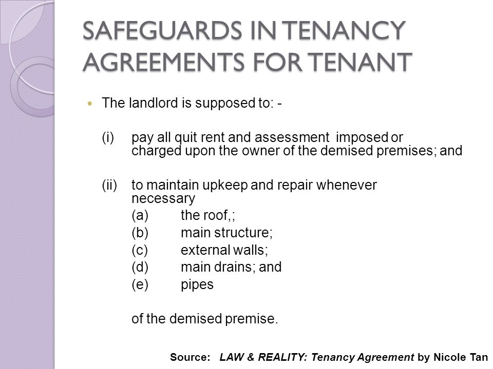 SAFEGUARDS IN TENANCY AGREEMENTS FOR TENANT