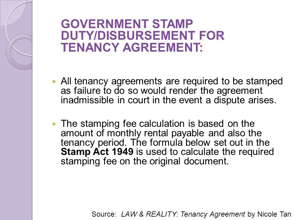 GOVERNMENT STAMP DUTY/DISBURSEMENT FOR TENANCY AGREEMENT:
