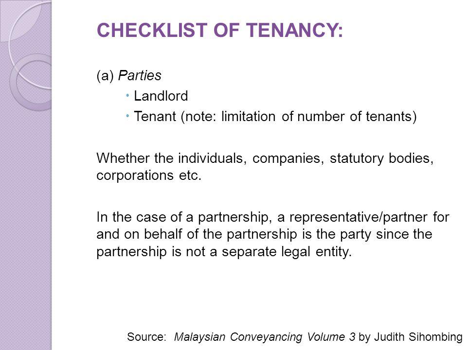 CHECKLIST OF TENANCY: (a) Parties Landlord