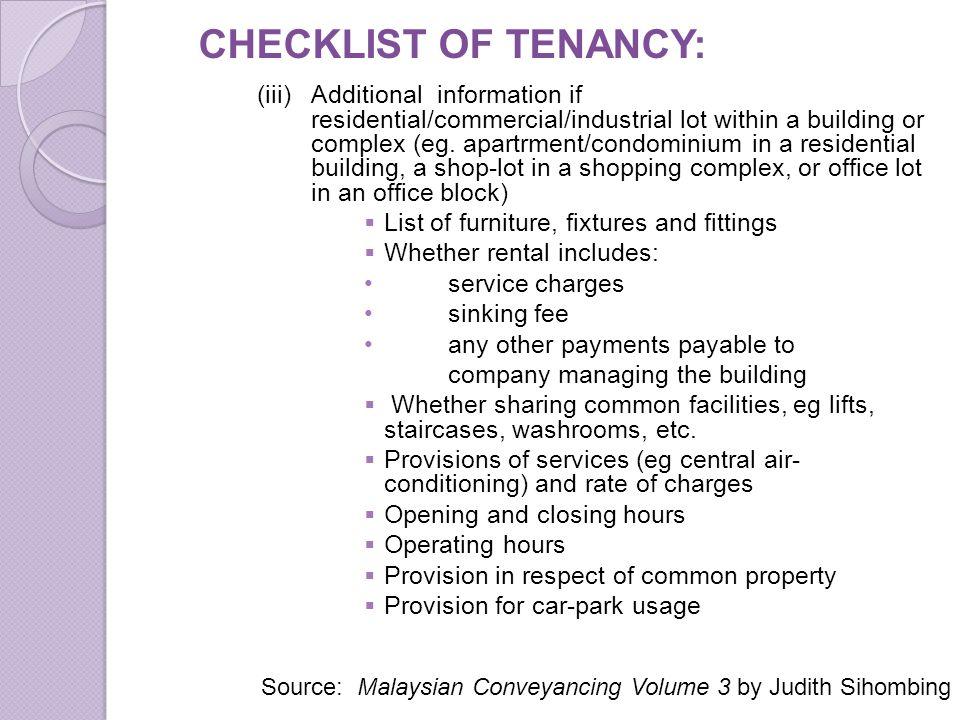 CHECKLIST OF TENANCY: