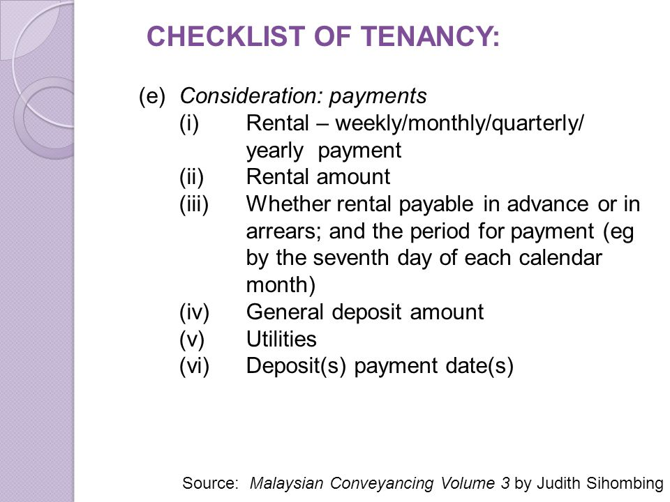 CHECKLIST OF TENANCY: (e) Consideration: payments