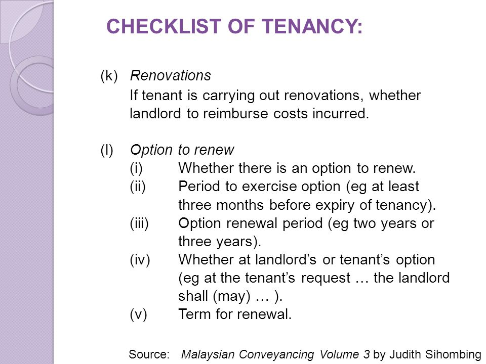 CHECKLIST OF TENANCY: (k) Renovations
