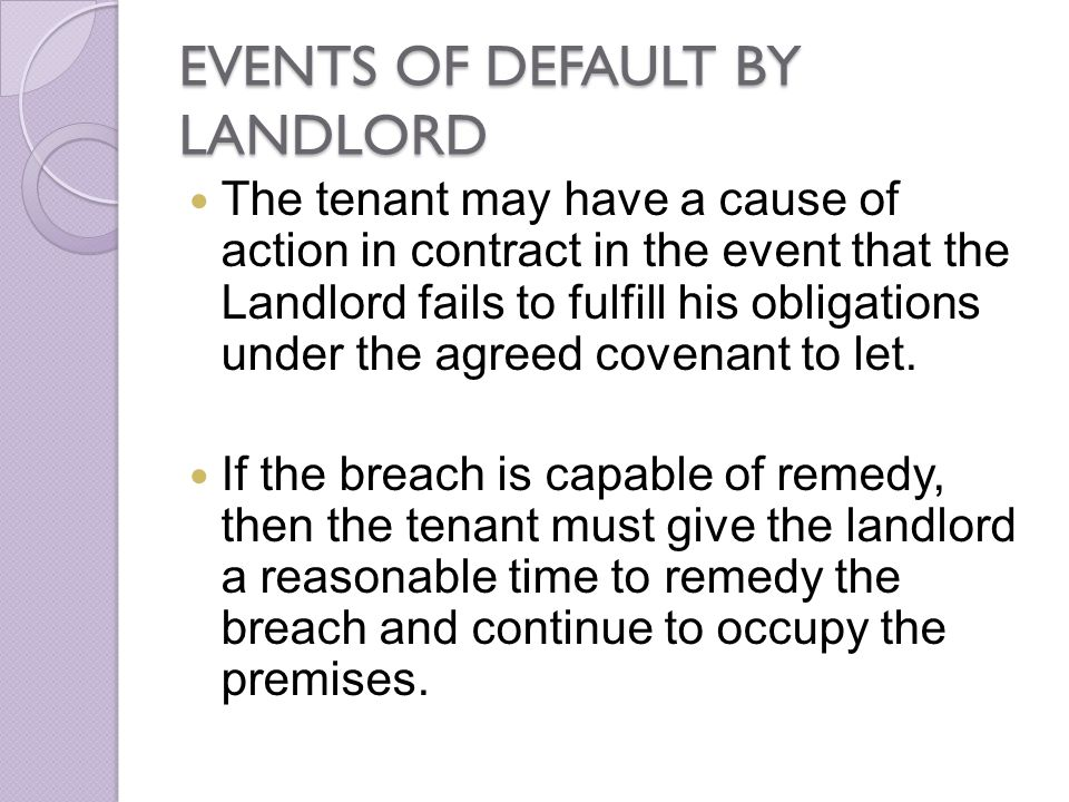 EVENTS OF DEFAULT BY LANDLORD