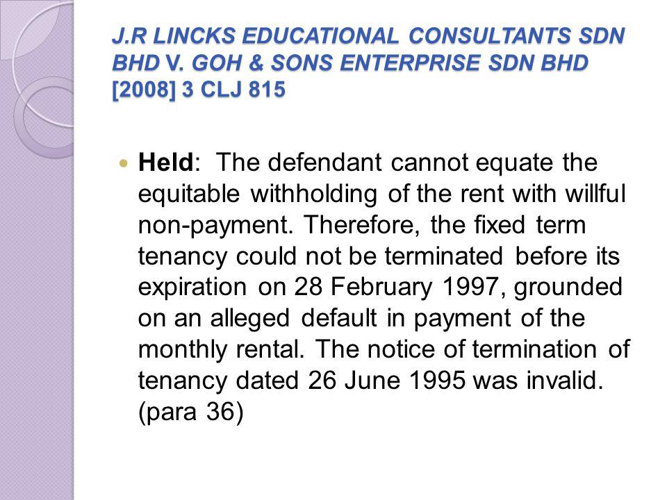 J. R LINCKS EDUCATIONAL CONSULTANTS SDN BHD V