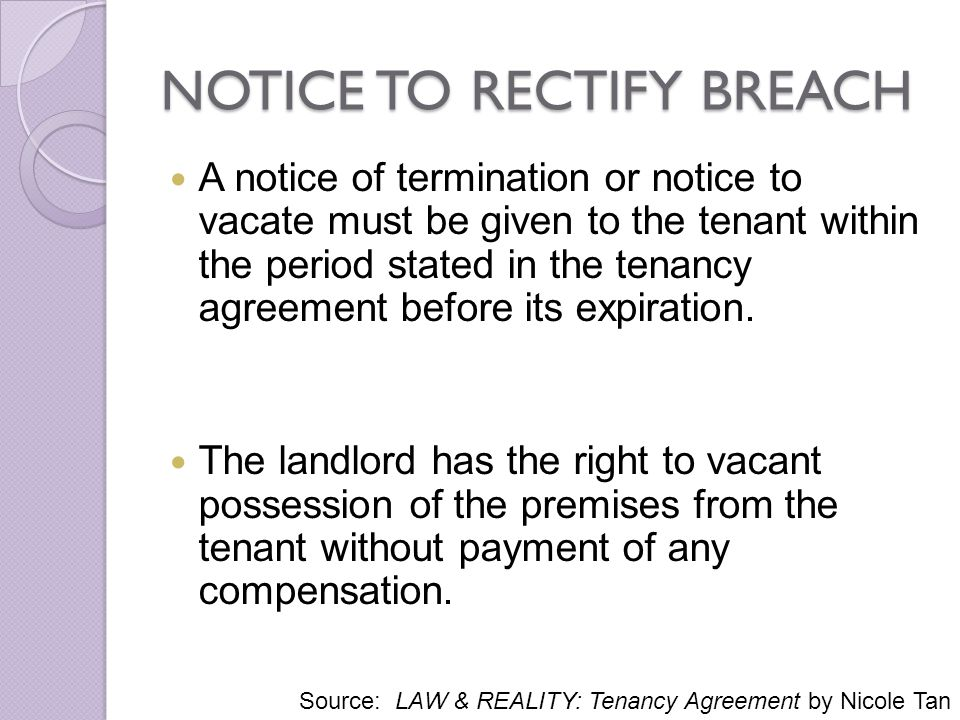 notice to rectify breach - Notice To Terminate Lease Agreement