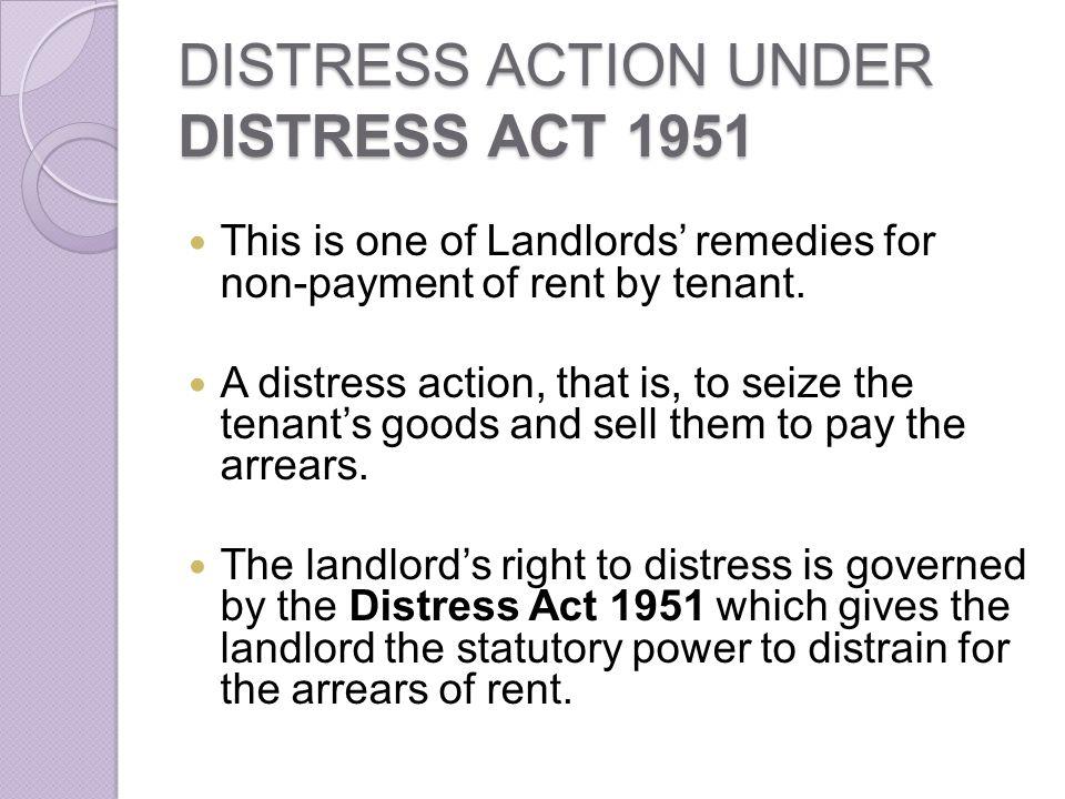 DISTRESS ACTION UNDER DISTRESS ACT 1951