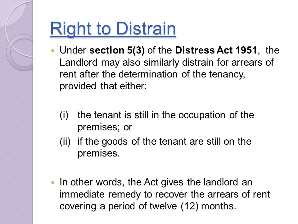 Right to Distrain