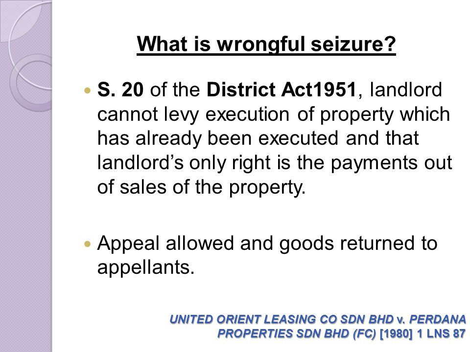 What is wrongful seizure