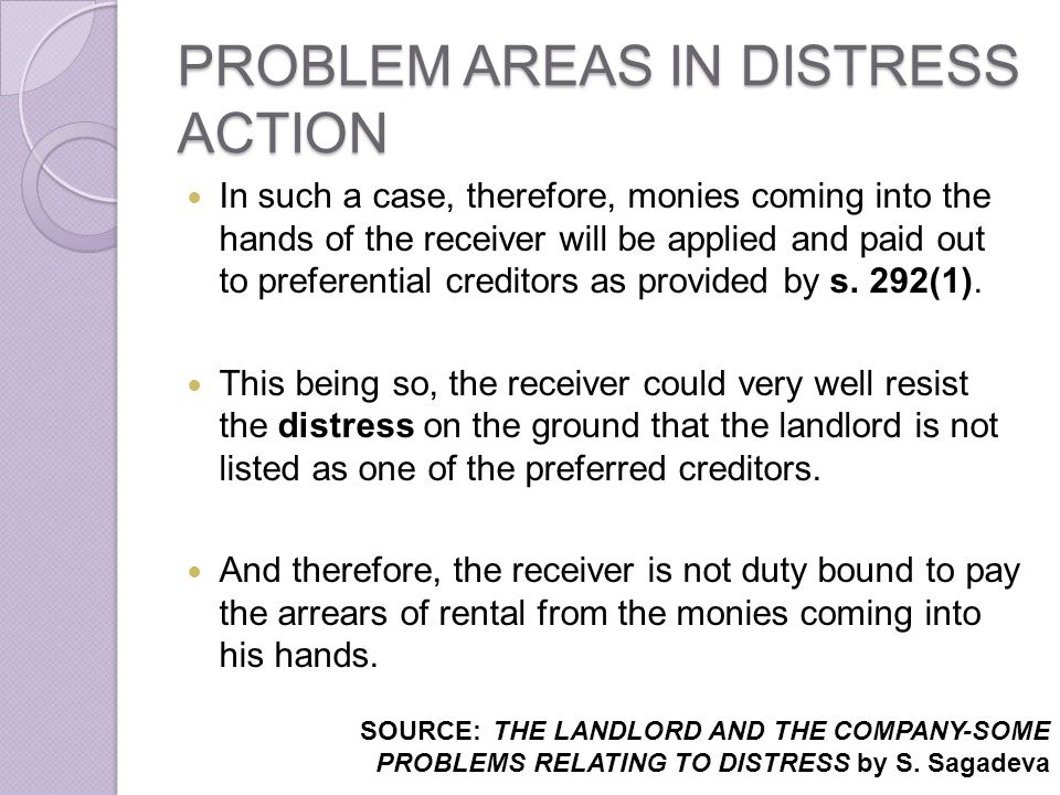 PROBLEM AREAS IN DISTRESS ACTION