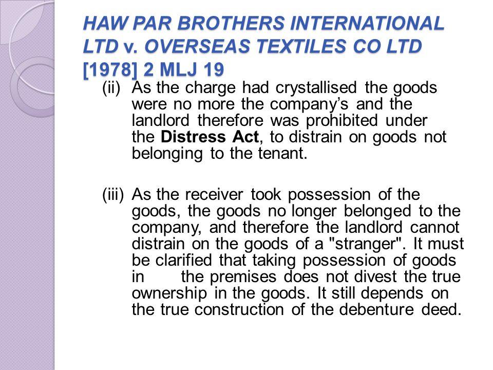 HAW PAR BROTHERS INTERNATIONAL LTD v