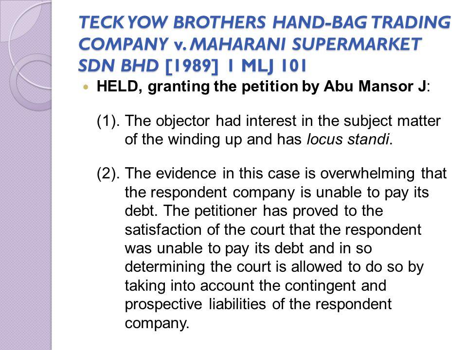 TECK YOW BROTHERS HAND-BAG TRADING COMPANY v