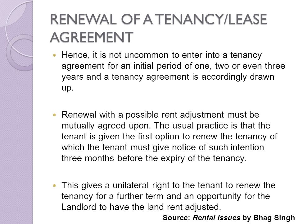 RENEWAL OF A TENANCY/LEASE AGREEMENT