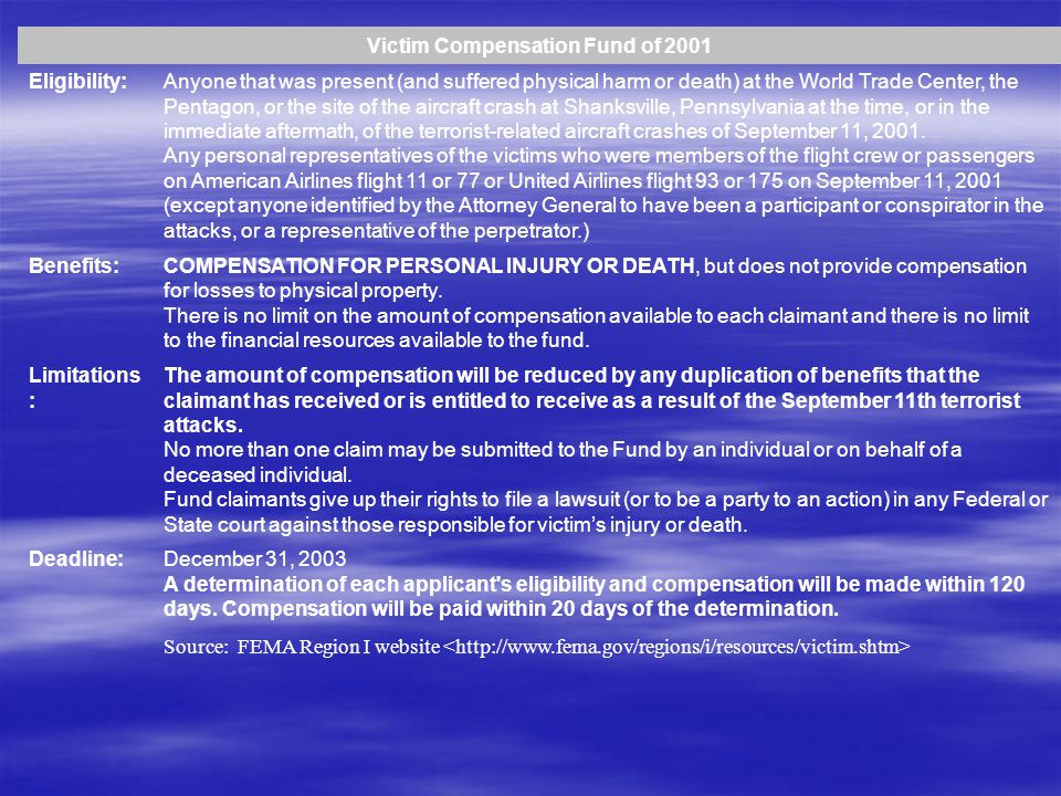Victim Compensation Fund of 2001