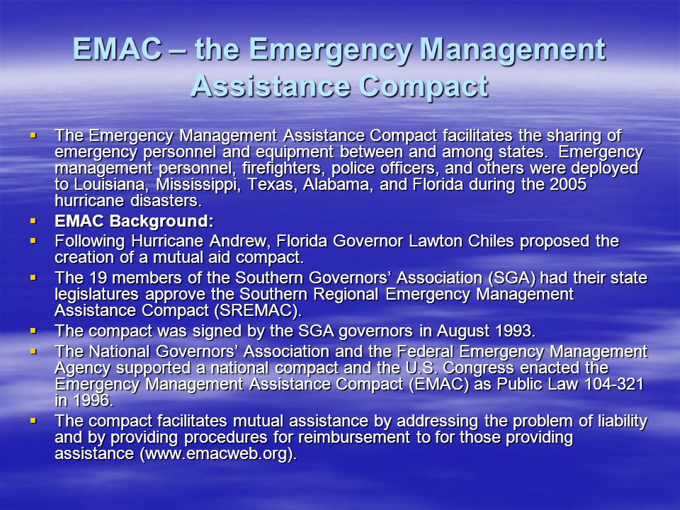 EMAC – the Emergency Management Assistance Compact